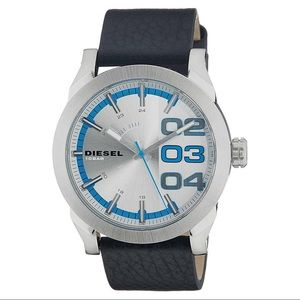 DIESEL MEN'S DOUBLE DOWN 46 BLACK LEATHER WATCH